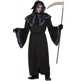Mens Black Spirits & Souls Robe Halloween Fancy Dress Costume