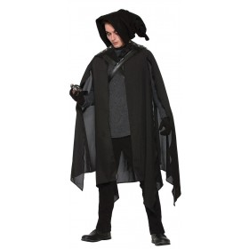 Adults Black Wizard Warlock/Witch Cape Fancy Dress Costume