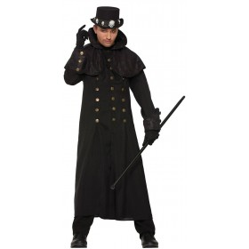 Mens Wizards Warlock/Steampunk Coat Fancy Dress Costume
