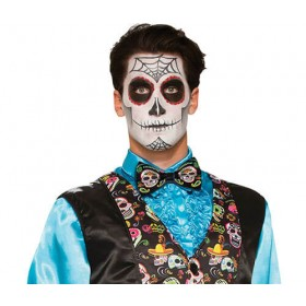 Adults Day Of The Dead Bowtie Halloween Fancy Dress Accessory