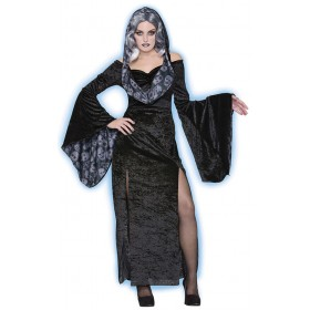 Ladies Black Spirited Dress/Ghost Halloween Fancy Dress Costume
