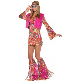 Ladies Pink Groovy Hippy Fur-Reaver Fancy Dress Costume
