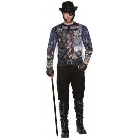 Adults 3D Tee Shirt Steampunk Man Fancy Dress Accessory