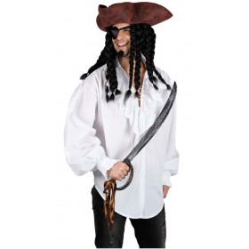 Mens Pirate Shirt - White Costume Fancy Dress (Pirates)