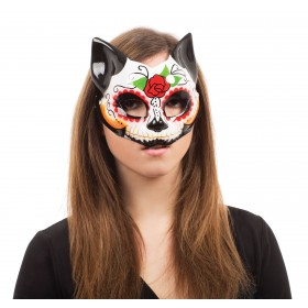 Ladies Mexican Day Of The Dead Kitty Halloween Mask Glasses Frame