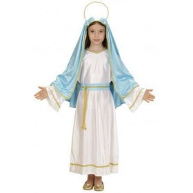 Girls Blue/White Holy Mary Nativity Christmas Fancy Dress Costume