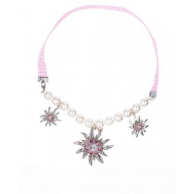 Ladies Pink Bavarian Edelweiss Necklace Fancy Dress Accessory