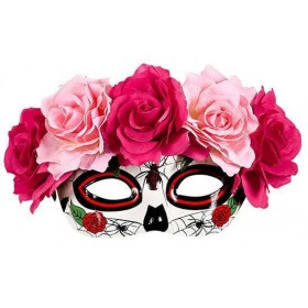 Ladies Glitter Day Of The Dead Pink/White Eyemask Fancy Dress Accessory