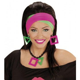 Ladies 80's Neon Headwraps Fancy Dress Accessory