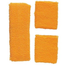 Sweatband Set Neon Orange 80's Fancy Dress Accessory