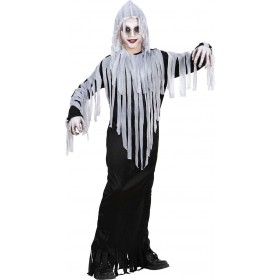 Boys Ghoul (Hooded Robe Belt) Halloween Outfit - (Black, White)