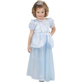 Girls Princess Dress - Light Blue Fairy Tales Outfit - (Blue)