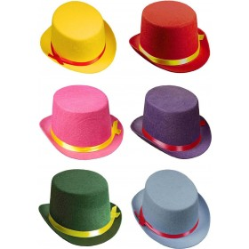 Unisex Top Hat Felt Child Size - 6 Cols Asstd Hats - (Multicolour)