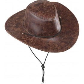 BOYS COWBOY HAT LEATHERLOOK HATS - (BROWN)