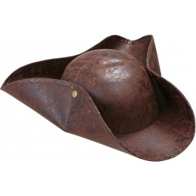 Boys Pirate Tricorn Leatherlook Hats - (Brown)