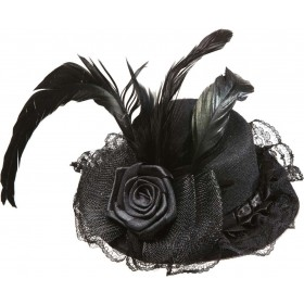 Girls Black Mini Hat W/ Flower Tulle & Feather Hats - (Black)