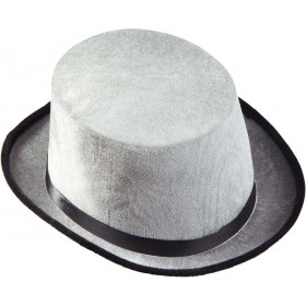 Mens Top Hat Velvet - Grey Hats - (Grey)
