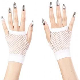 Ladies Fingerless Fishnet Gloves - White Gloves - (White)