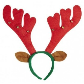 Festive Red/Green Reindeer Horns Red W/Bells And Ears Headband
