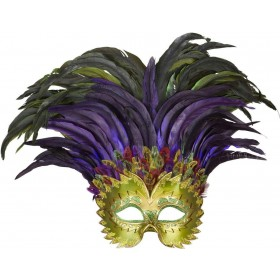 Adult Unisex Incas Eyemask With Feathers Eyemasks - (Multicolour)