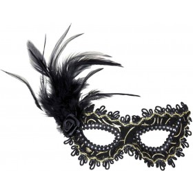 Ladies Black Eyemask W/Rose Feathers & Gold Accents Eyemasks - (Black)