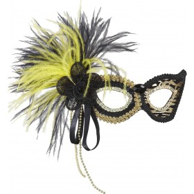 Ladies Tiger Eyemask W/Gem Sequin Rose & Feathers Eyemasks - (Animal Print)