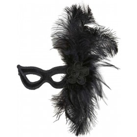 Ladies Black Velour Eyemask W/Rose & Feathers Eyemasks - (Black)
