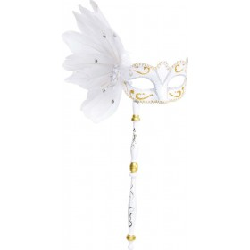 Ladies White Eyemask On A Stick W/Feathers Eyemasks - (White)