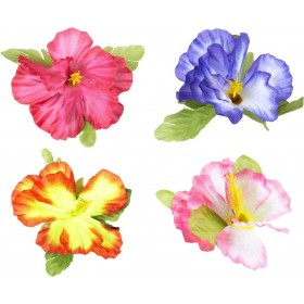 Single Ladies Hibiscus Flower Hair Clips 4 Colors Ass Accessories - (Multicolour)