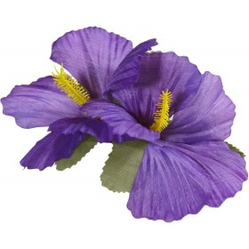 Ladies 2 Purple Hibiscus Flowers Hair Clips Accessories - (Purple)