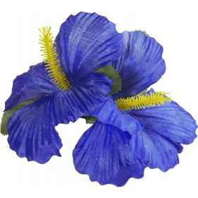 Ladies 2 Blue Hibiscus Flowers Hair Clips Accessories - (Blue)
