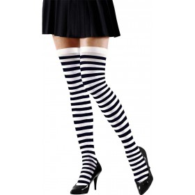 Ladies White-Black Striped Over The Knee Socks - 70 Den Tights - Size 10-12