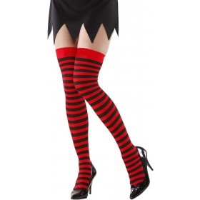 Ladies Red-Black Striped Over The Knee Socks - 70 Den Tights - Size 10-12