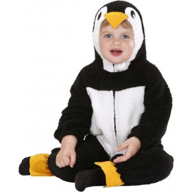 Toddler Fuzzy Penguin Baby Animal Outfit - (Black, White)