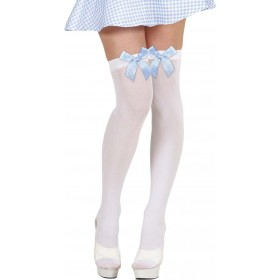 Ladies White Thigh Highs W/Blue Checked Bows Tights - (White)