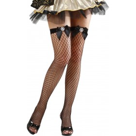 Ladies Black Fishnet Thigh Highs W/Cameo Bows Tights - Size 10-12 (Black)