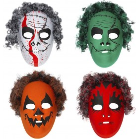 Mens Halloween Masks With Hair - 4 Styles Ass Masks