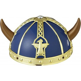 Adult Unisex Viking Helmet Hard Plastic Hats - (Blue, Gold)