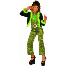 Girls Trendy Girl Costume Hippy Outfit - (Red, Green)