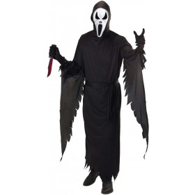 Mens Screaming Ghost- (Hooded Robe Belt Mask) Halloween (Black)