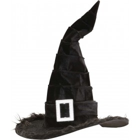 Ladies Velvet Witch Hats W/ Plush Trim & Buckle Hats - (Black)