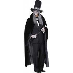 Mens Black Velvet Cape 145Cm Halloween Outfit - One Size (Black)