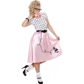 Ladies 50S Poodle Girl Outfit - (White, Pink)