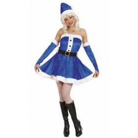 Ladies Blue/White Sexy Miss Santa Christmas Party Fancy Dress Outfit