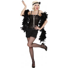 Ladies Black Flapper 1920'S Outfit - (Black)