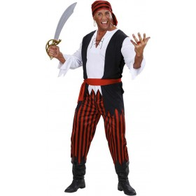 Mens Caribbean Pirate Pirates Outfit (Black, White)