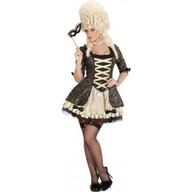 Ladies Black Baroque Queen Royal Outfit - (Black)
