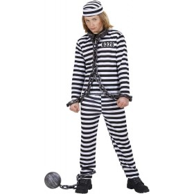 Boys Convict Costume Black/White Cops/Robbers - (Black, White)