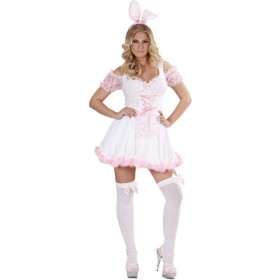 Ladies Bunny Girl Costume Animal Outfit - (Pink)