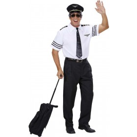 Mens Pilot- (Shirt Tie Hat) Pilot/Air Outfit (White)